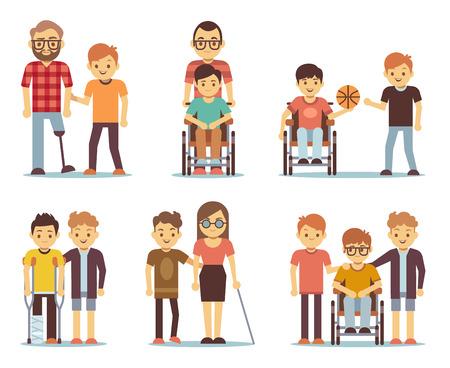 Mensen met een handicap en vrienden hen te helpen vector set. Mensen met een handicap zorg iconen. Help en ondersteuning voor gehandicapten illustratie Stock Illustratie