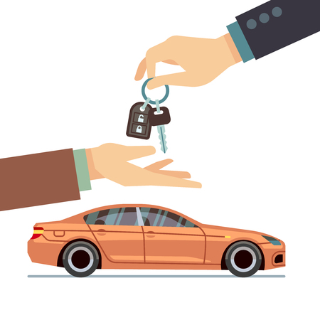 lease: Car seller hand giving key to buyer. Buying or renting car business vector concept. Illustration of sale car purchase