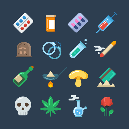 narcotics: Illegal drug tablets, alcohol addiction, methamphetamine abuse vector flat icons. Set of drugs heroin and smoking, illustration of hallucinogenic mushroom and collection of drug
