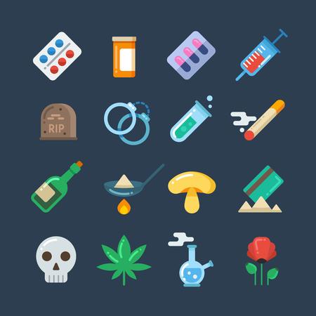 methamphetamine: Illegal drug tablets, alcohol addiction, methamphetamine abuse vector flat icons. Set of drugs heroin and smoking, illustration of hallucinogenic mushroom and collection of drug