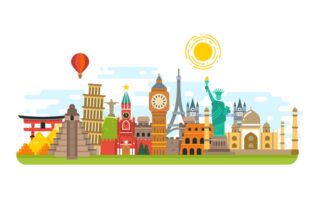 World famous travel landmark, international symbols vector tourism concept background. Famous monuments building, culture architecture monument illustration