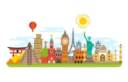 El mundialmente famoso hito viaje, símbolos de vectores de fondo concepto de turismo internacional. Famoso edificio de monumentos, la arquitectura cultura monumento ilustración