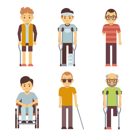 invalid: Disabled people vector set. Old and young invalid persons. Invalid in wheelchair, disability character invalid man illustration
