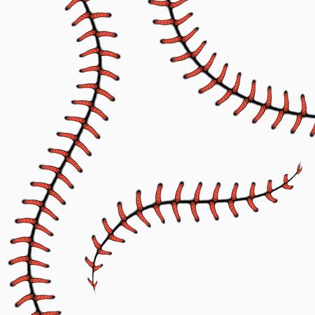 野球のステッチ、ソフトボールひも白で隔離。ベクトルを設定します。ボール、ライン曲線縫いステッチ図の赤ステッチ