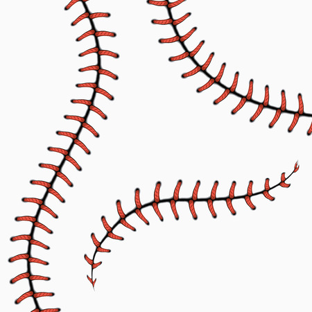 Baseball stitches, softball laces isolated on white. vector set. Red stitch for ball, line curve seam stitch illustration