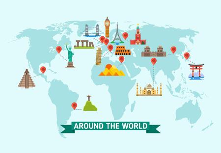 Travel landmarks on world map vector illustration. World monuments of architecture stonehenge and kremlin, international set of famous monuments