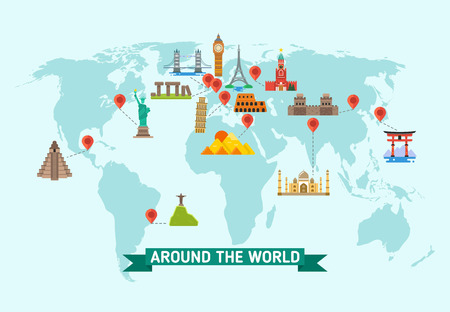 Travel Landmarks On World Map Vector Illustration World Monuments - Us map with famous landmarks