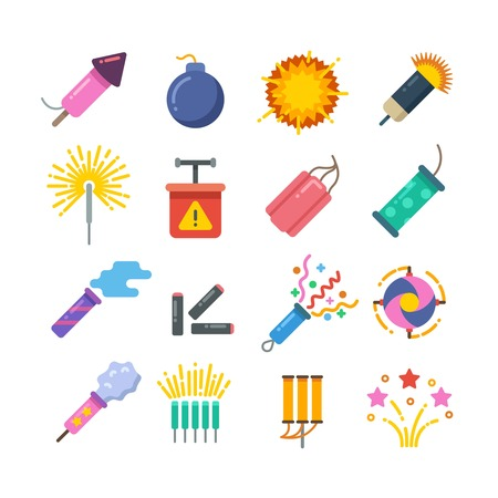 fire crackers: Holiday fire crackers, sparklers, fireworks and pyrotechnics flat vector icons. Explosion pyrotechnic and firecracker, sparkle colorful from pyrotechnic dynamite illustration