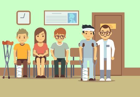 Los pacientes en los médicos sala de espera en el hospital, clínica médica. cuidado de la salud concepto del vector. Las personas que esperan en la clínica, la ilustración de la cola de personas enfermas con el médico