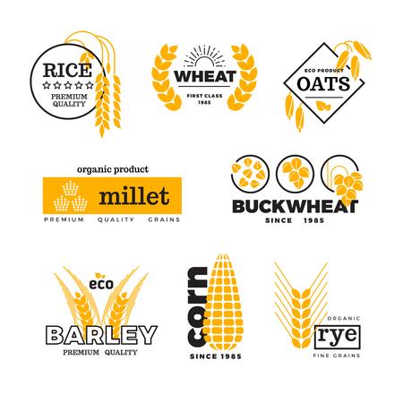 Organic wheat grain farming agriculture vector logo set. Logo with grain, emblem farming natural golden grains illustration