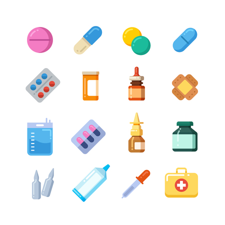 dose: Medicine cartoon pill, drug, table, antibiotics, medication dose flat icons. Color icons drug for medication, vitamin chemical drugs illustration Illustration