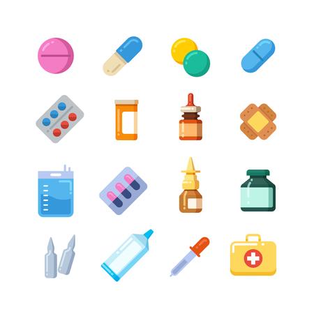 Píldora de dibujos animados medicina, drogas, mesa, antibióticos, iconos planos de dosis del medicamento. Color de drogas iconos de medicamentos, drogas químicas vitamina ilustración Foto de archivo - 67264618