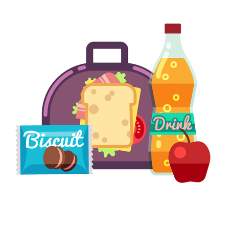 Kids lunch box, bag with snacks, meal and beverages vector stock. Lunchbox sandwich, drink with apple fruit, lunch for school illustration