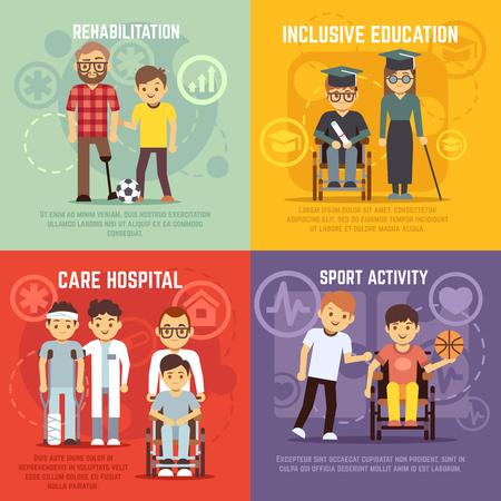 Gehandicapte zorg vector flat concepten te stellen. Inclusief onderwijs en sport actief voor gehandicapte persoon, rehabilitatie handicap illustratie