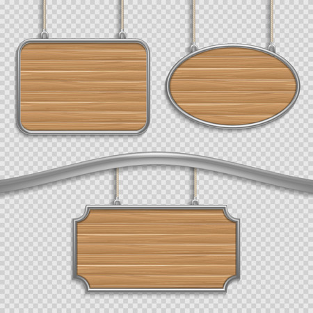 wooden panel: Vector empty wooden hanging signs isolated. Wooden banners set, illustration of wooden panel frame Illustration