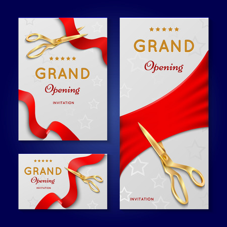Ribbon cutting with scissors grand opening ceremony vector invitation cards. Invintation banner to opening event illustration