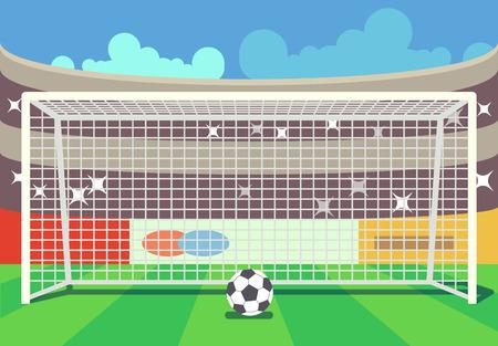 Vector soccer stadium and ball illustration. Frame to football sport illustration Illustration