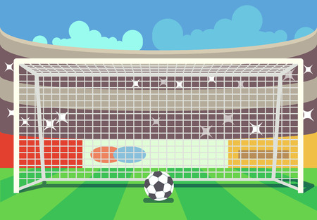 Vector soccer stadium and ball illustration. Frame to football sport illustration Ilustrace