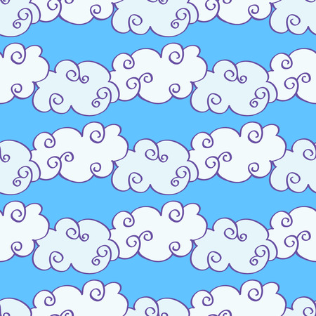clouded sky: Vector hand drawn clouds over the blue sky seamless pattern. Caricature cumulus clouds illustration