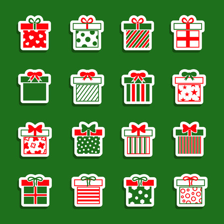 giftware: Christmas gift boxes vector icons set. Colllection of xmas gifts illustration