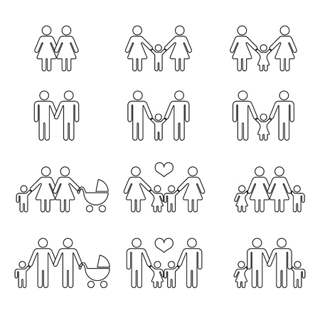 homosexual: Gay family with children thin line icons white. Happy homosexual together illustration