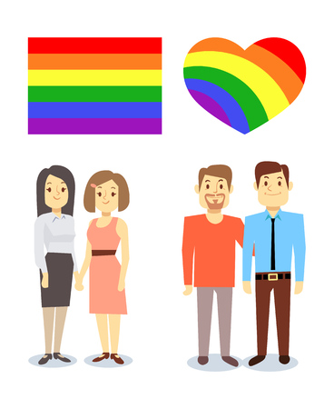 pairs: Vector happy gay LGBT pairs with rainbow flag and heart. Homosexual couple love illustration