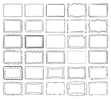 Simple doodle, sketch square vector frames. Abstract frame sketch of set illustration