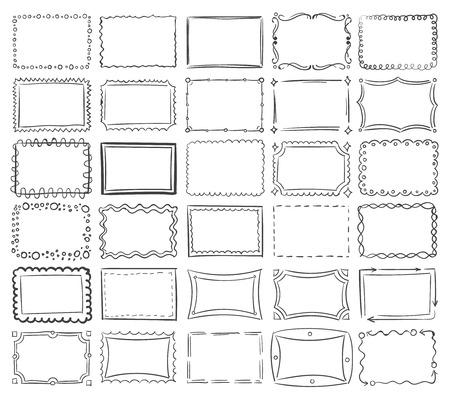 Simple doodle, sketch square vector frames. Abstract frame sketch of set illustration