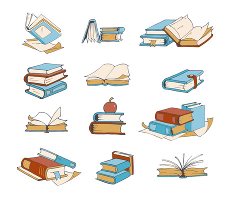 a literary sketch: Doodle books, hand drawn novel, encyclopedia, story, dictionary vector icons. Book literature to school, set of books for reading and education illustration