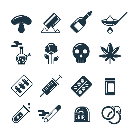 alcohol abuse: Drugs, alcohol, pills, tablet, narcotic abuse vector icons. Cocaine and marijuana, addiction to drugs heroin and cocaine illustration