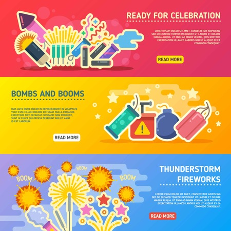 fire crackers: Holiday fire, crackers show set of vector business banners. Horizontal web page with bonm and petard for holiday illustration