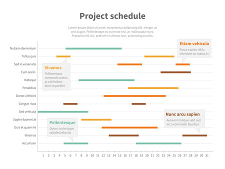 gantt: Project plan schedule chart with timeline, gantt progress vector graph. Infographic project timeline for business, structure statistical project illustration