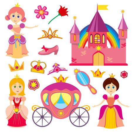 Cute fairytale princess, pink carriage, crown, princess castle, cartoon little girl tiara vector set. Illustration of princess character