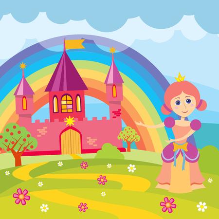 landscape architecture: Cartoon princess and fairytale castle with landscape vector illustration. Fairytale kingdom with architecture drawing medieval castle