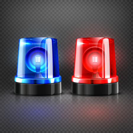 flasher: Realistic police ambulance flashing red and blue sirens isolated vector illustration. Flash light lamp for police car or flasher to ambulance Illustration