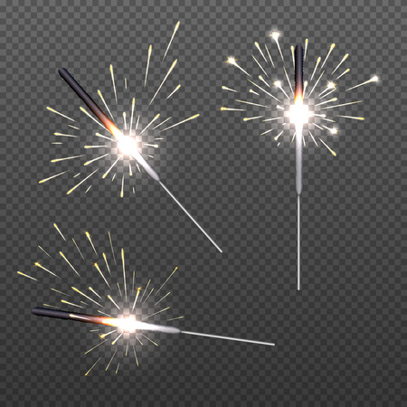 bengal fire: Closeup isolated sparkler shine bengal lights for holiday decor. Stick with bengal light, bright holiday glitter bengal light illustration