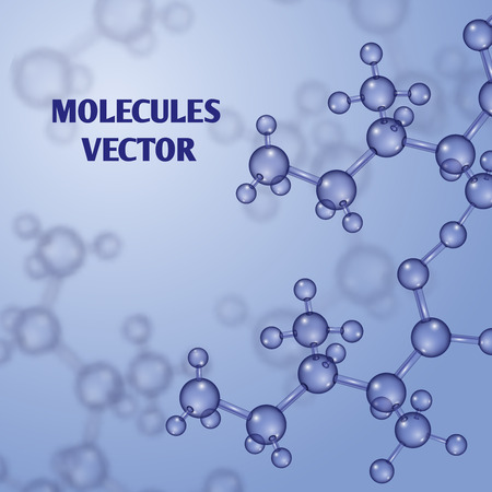 substance: Chemical vector nanotechnology background with 3d macro molecules. Molecular structure substance and pattern with molecules illustration