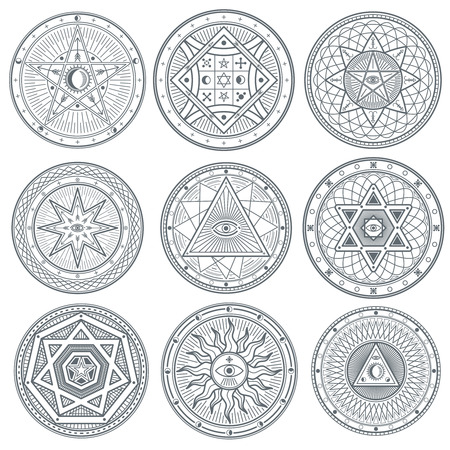 Occult, mystic, spiritual, esoteric vector symbols. Spiritual masonic tattoo symbol, illustration of spiritual religion signs Ilustracja