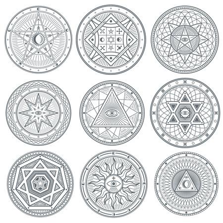 Occult, mystic, spiritual, esoteric vector symbols. Spiritual masonic tattoo symbol, illustration of spiritual religion signs Illustration