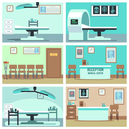hospital corridor: Empty hospital, doctor office, surgery room, clinic vector interiors set. Hospital room with X-ray and MRI, interior rooms in clinic illustration