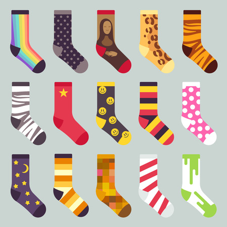 Textile colorful child warm socks vector. Set of sock with colored pattern, illustration of wool socks Illustration