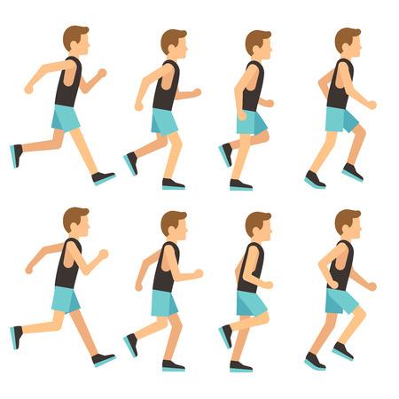 Running athletic man in tracksuit animation frame, sprite sequence vector illustration. Man activity running, sport runner start run