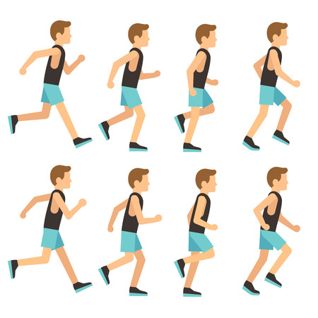 Running athletic man in tracksuit animation frame, sprite sequence vector illustration. Man activity running, sport runner start run