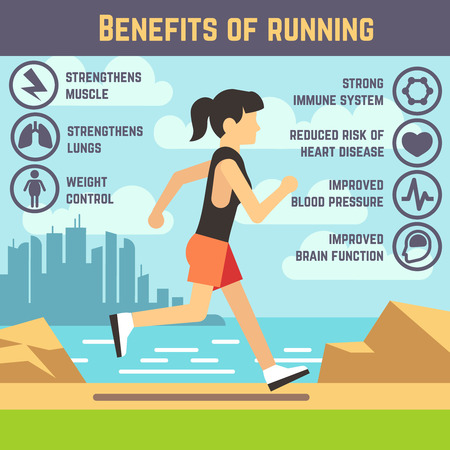 strengthen: Running female, jogging women, cardio exercise. Health care infographics. Benefits of running for woman, strong immune and strengthen heart and lungs illustration Illustration
