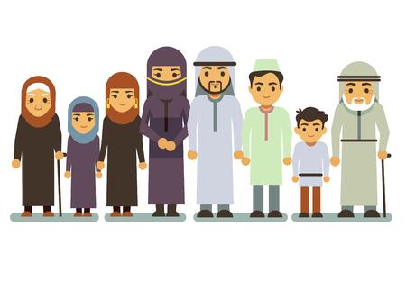 smiing: Arab happy smiling family vector characters. Islamic parents, saudi man, woman, children, teen. Islamic family parens and children, illustration of muslim big family Illustration