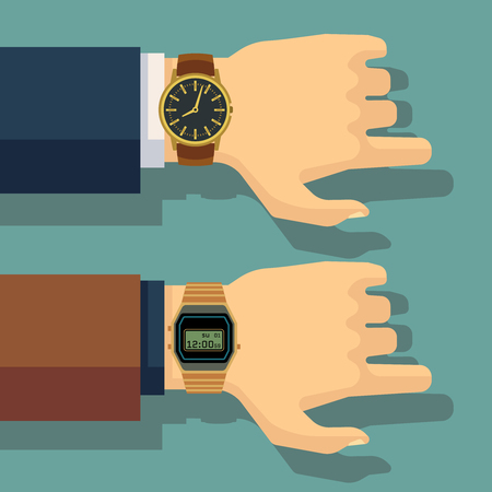 puntualidad: Businessmans mano con reloj de muñeca. Ahorra tiempo, el concepto de puntualidad del vector. reloj de negocios, mano humana con la ilustración del reloj