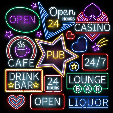 Neon bar verlichting vector tekenen. Verlichte neon cafe en casino, teken neon geopend illustratie