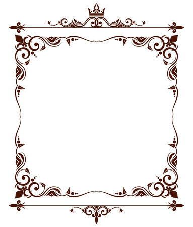 Geraldic royal fleur de lys ornate frame. Heraldic design decoration. Vector illustration