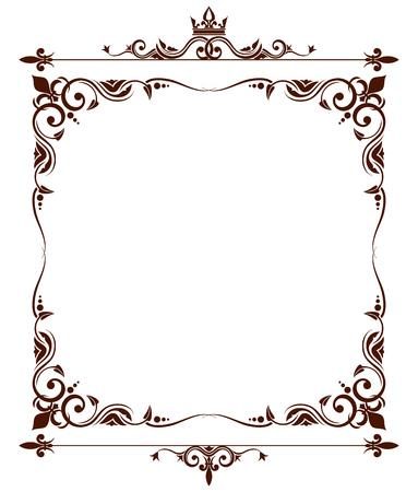 Geraldic royal fleur de lys ornate frame. Heraldic design decoration. Vector illustration