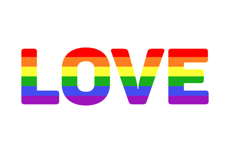 Vector gay LGBT rainbow love word. Colorful text love illustration